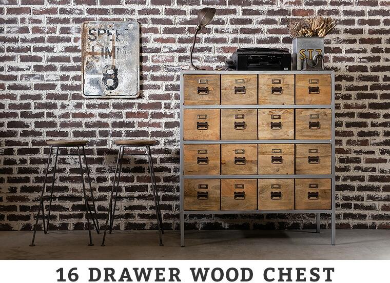 16 DRAWER WOOD CHEST
