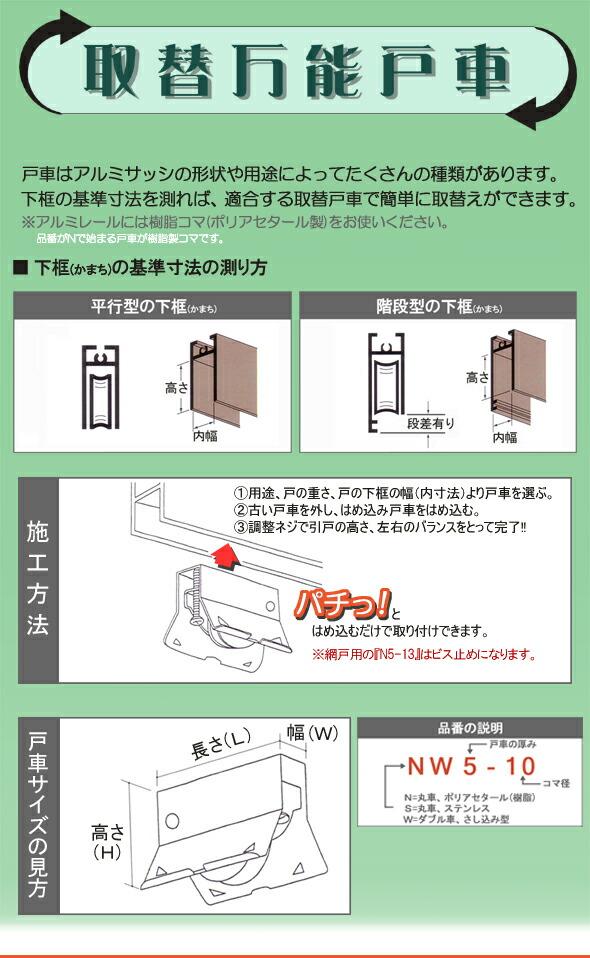 戸車はアルミサッシの形状や用途によってたくさんの種類があります。下框の基準寸法を測れば、適合する取替戸車で簡単に取替ができます。