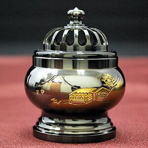 極上唐銅仏具・・・瑞鳳型 山水彫 国光メッキ 十一具足・・・香炉
