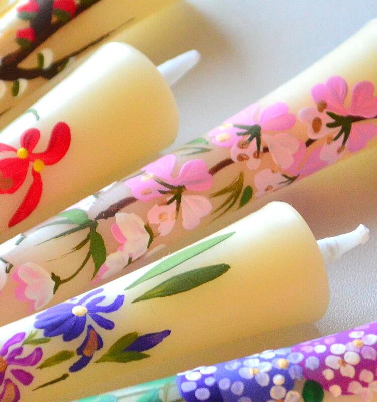 手描き絵ろうそく 「四季の花」3号12本入り