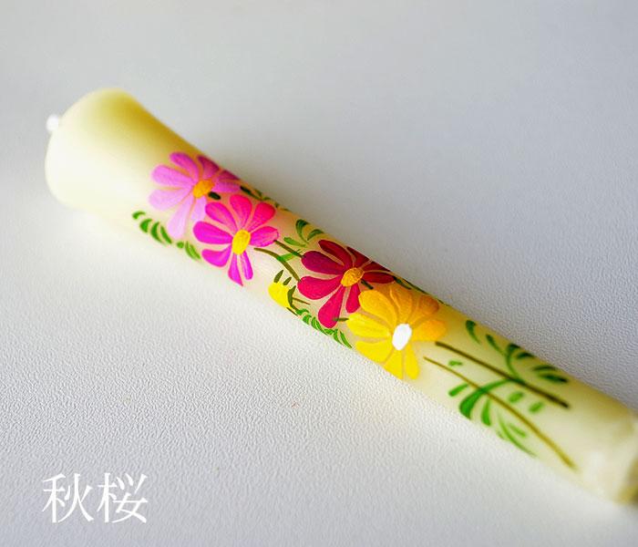 手描き絵ろうそく「秋桜/コスモス」