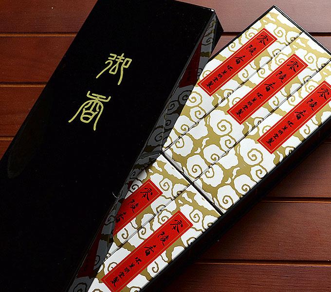 永平寺でも使われているお線香・・・薫明堂「零陵香」進物用 短寸6函入文庫形 黒塗樹脂箱