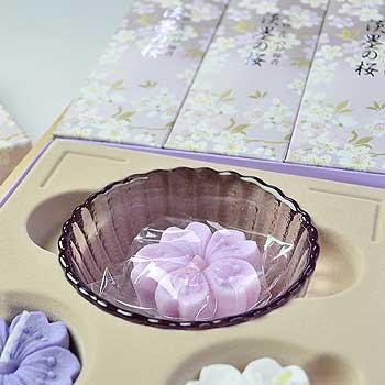 淡墨の桜 浮きローソクセット/桐箱