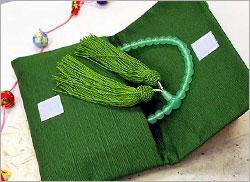 紬 念珠入れ 数珠入れ 緑