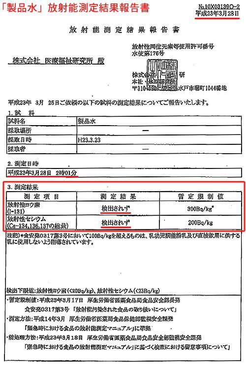 「製品水」放射能測定結果報告書