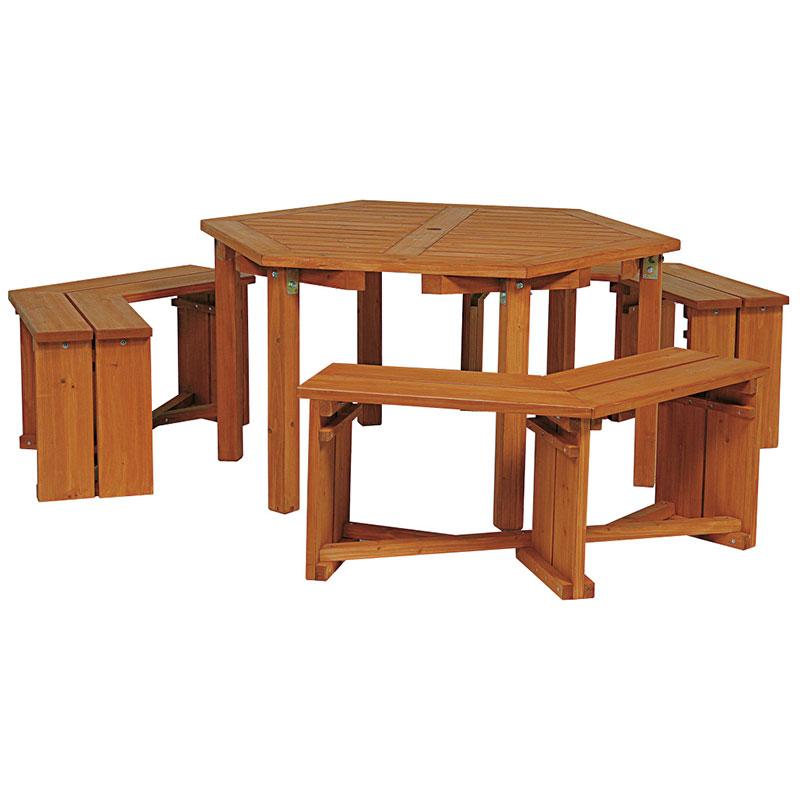 ウッディーガーデン 六角テーブル