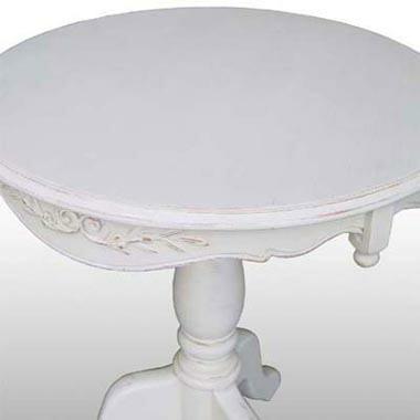 ラウンドテーブル(アンティーク風ホワイト家具)