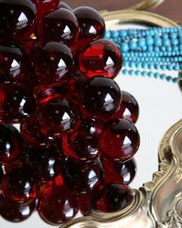 空間をお洒落にするムラノガラスのぶどう置物(レッド)