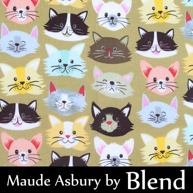 【FA4308-116052】【メール便2mまで対応】Blend(ブレンド)猫柄の生地