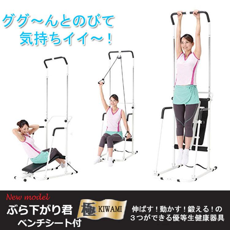 ぶらさがり健康器にアーム運動と腹筋運動機能がプラス