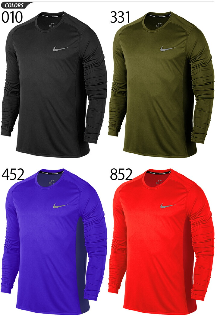 f643dc0c46 APWORLD  Nike men long sleeves shirt NIKE DRY-FIT miler top running ...