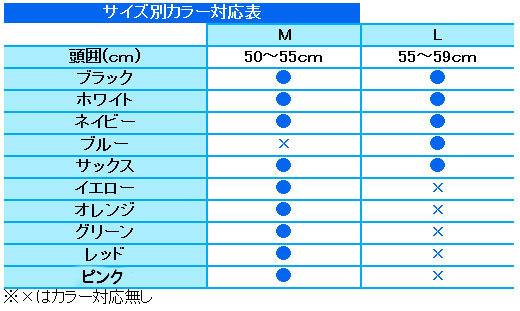 AQA スイムメッシュキャップ カラー別サイズ対応表