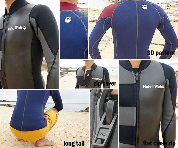 Hele i Waho (ヘレイワホ) / ウェットスーツで作ったジャケット(タッパー)フロントジップの仕様詳細