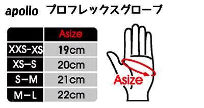 apollo/アポロ プロフレックスグローブ サイズ表