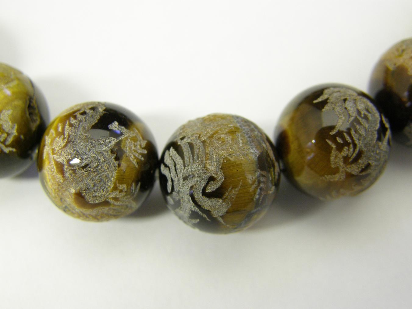 天然石  パワーストーン  天然石ブレスレット  タイガーアイ彫りブレスレット 四神12ミリ玉