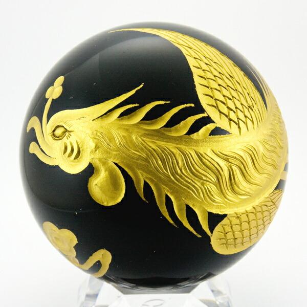 【彫刻置物】丸玉|オブシディアン|100mm|五爪龍|鳳凰|(金彫り)|送料無料|天然石|幸運|パワーストーン|