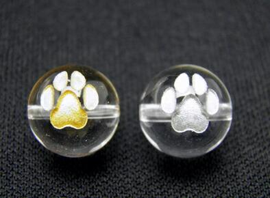 ���り♪♪ 猫�足跡 猫�肉�ビーズ 10mm玉 ��る金彫り・銀彫り|天然石|幸�|パワーストーン|