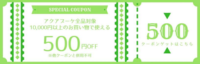 アクアブーケ 店内全品500円OFF限定クーポン