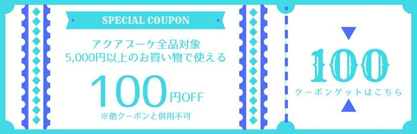 アクアブーケ 店内全品100円OFF限定クーポンプレゼント