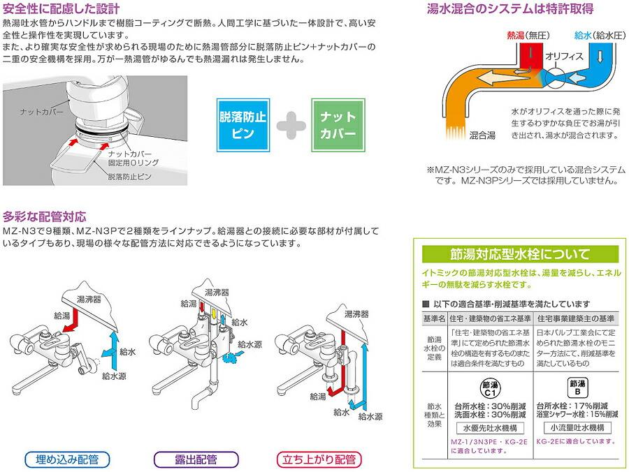 イトミック 混合水栓 MZ-N3(まぜまぜ)シリーズ