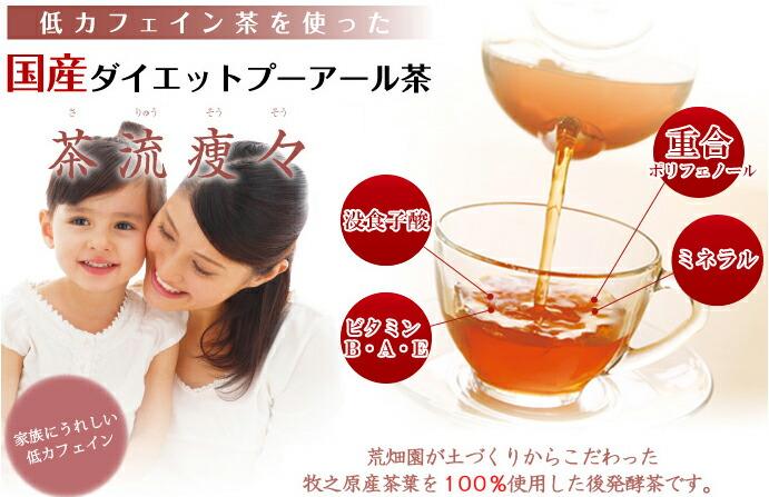 低カフェイン茶を使った国産ダイエットプーアール茶「茶流痩々」