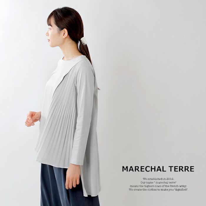 MARECHAL TERRE(マルシャルテル)ウォッシャブル異素材切替Aラインチュニックプリーツプルオーバー zmt211ct027
