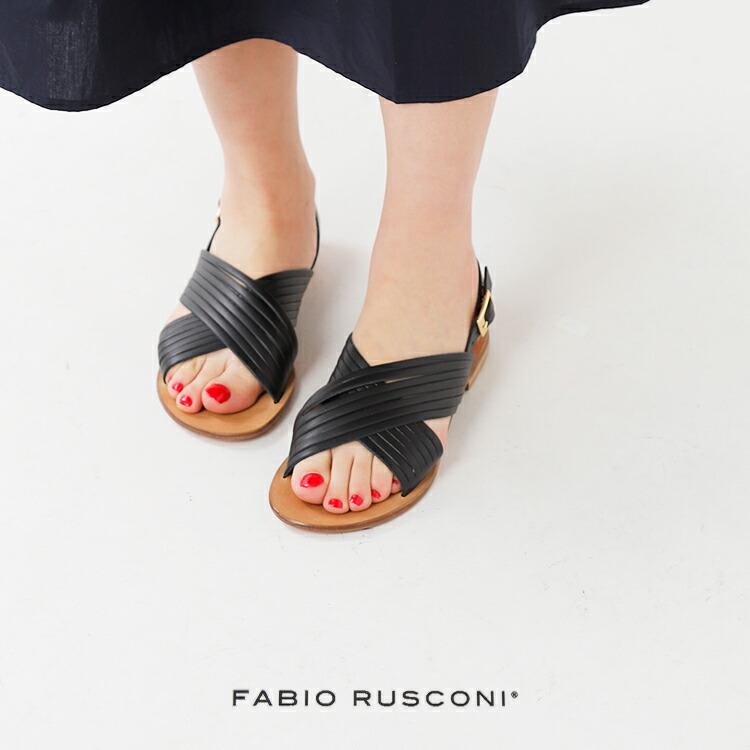 FABIO RUSCONI(ファビオルスコーニ)バチェッタレザーストラップクロスフラットサンダル dh25