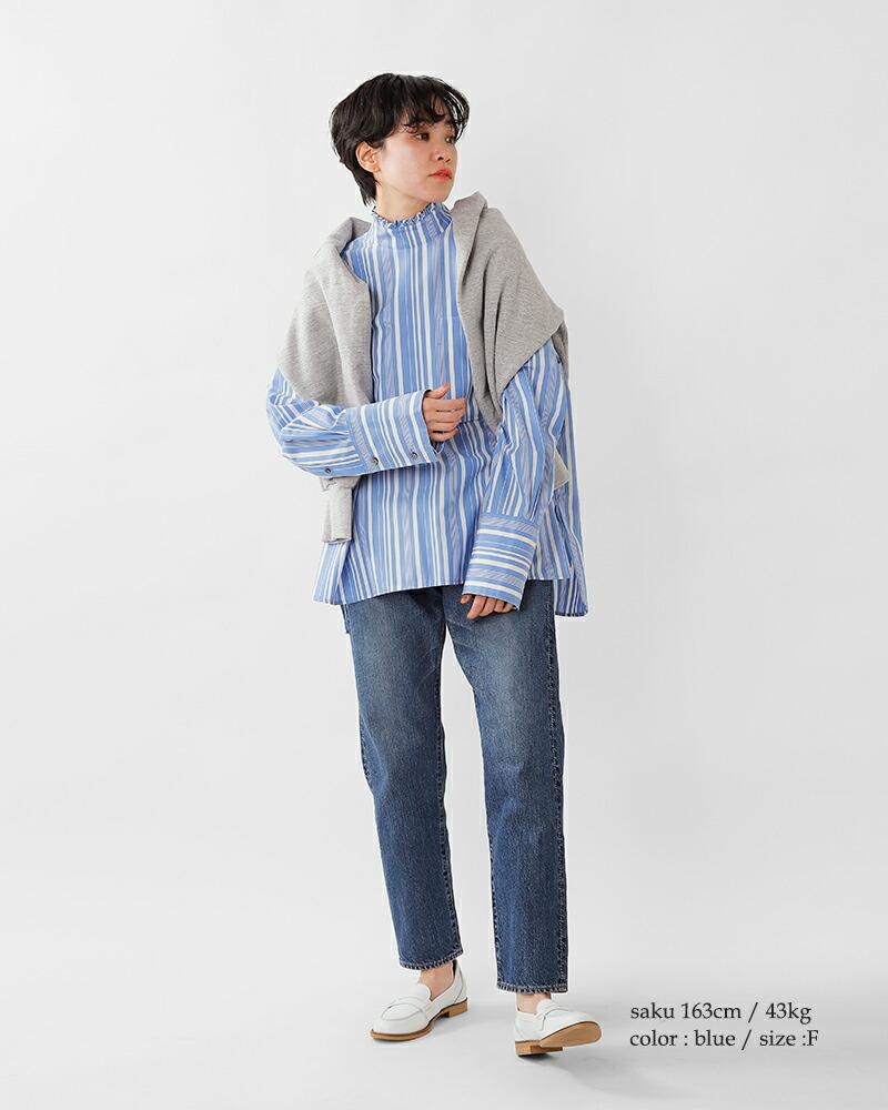 Shinzone(シンゾーン)コットンフリルネックシャツ 21smsbl05