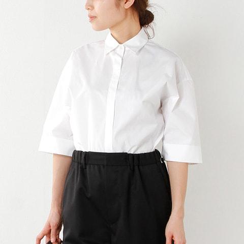 "graphpaper(グラフペーパー) スーピマコットンタイプライターミドルスリーブシャツ""Typewriter S/S Shirt"" gl17-s-103-ma"