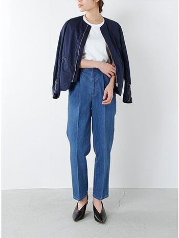 Scye 高密度綿サテン インディゴジップアップジャケット 1217-61095