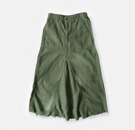 or slow<br>コットンサテン ファティーグリメイクロングスカート
