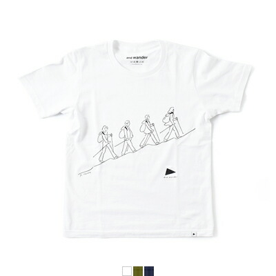 "and wander(アンドワンダー) プリントTシャツ""quarted printed T by Yu nagaba"" aw81-jt053"