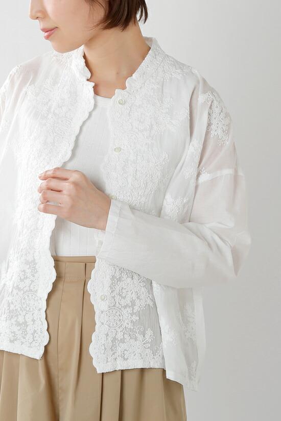 mizuiro-ind(ミズイロインド) コットンレーススタンドカラーワイドシャツ 1-238189
