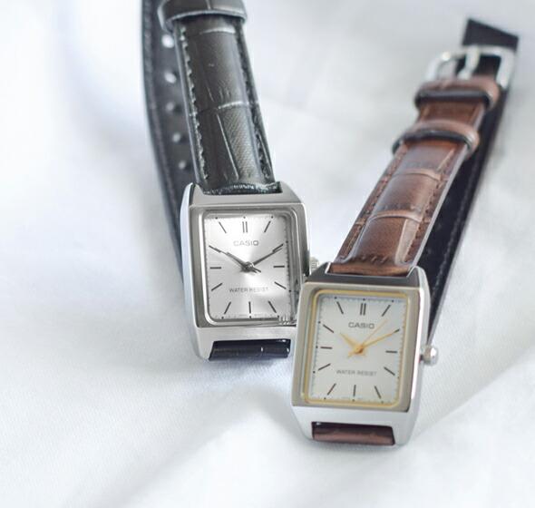 CASIO(カシオ)<br>スクエアケースレザーベルト腕時計 ltp-v007l
