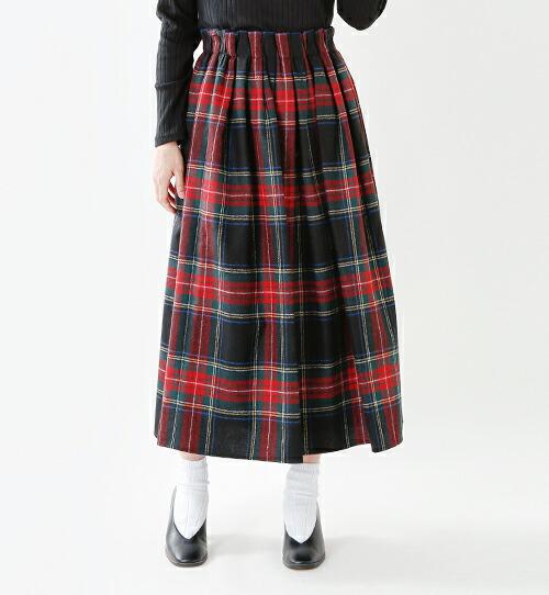 O'NEIL OF DUBLIN(オニールオブダブリン)<br>aranciato別注 ウールブレンドタックチェックロングスカート s26582