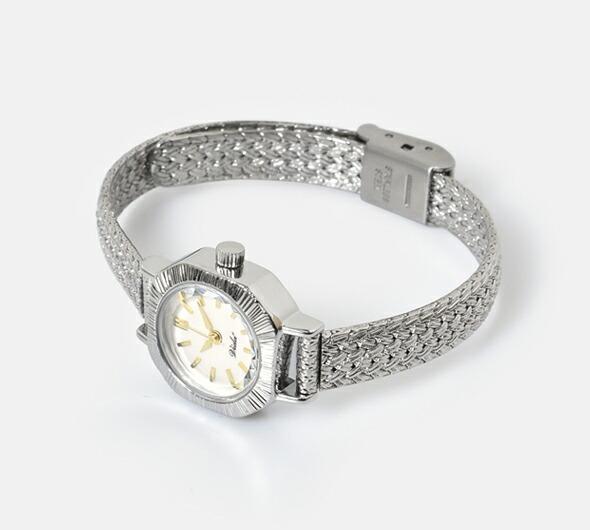 "VIDA+(ヴィーダプラス)<br>シルバーヘリンボーンメッシュベルトスクウェアフェイス腕時計""Curious"" v-004sm"