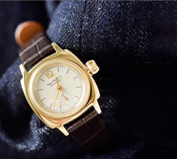"Vague Watch Co.(ヴァーグウォッチカンパニー)<br>クロコダイルベルトアナログウォッチ""COUSSIN 12"" co-s-012-ss-yg"