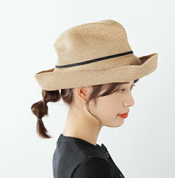 mature ha.(マチュアーハ)<br>aranciato別注 グログラン細リボンペーパーブレードボックスハット mbox-101-thin