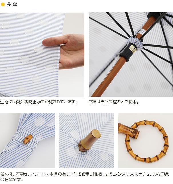 SUR MER キャンバス水玉 長傘/折りたたみ傘
