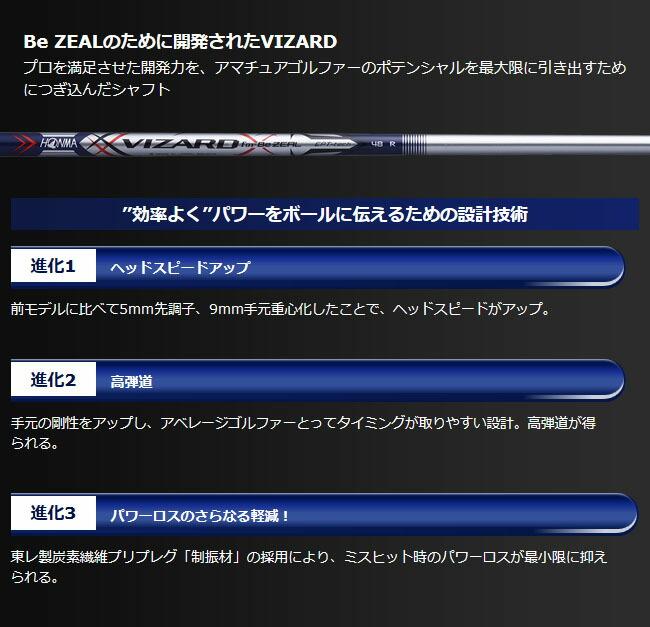 Be ZEAL のために開発されたVIZARDシャフト