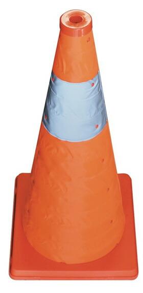 カラーコーン 伸縮 反射帯つき 伸縮式三角コーン 高さ62cm オレンジ