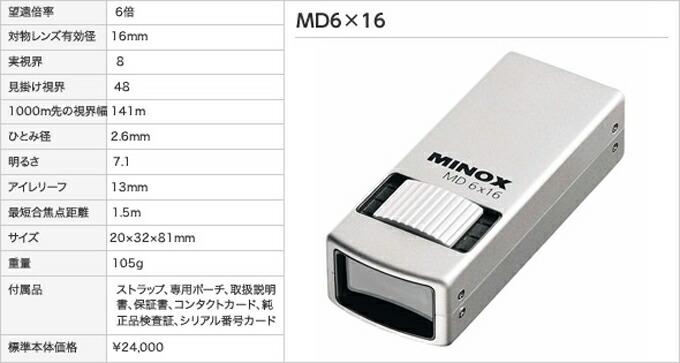 ミノックスMD6×16