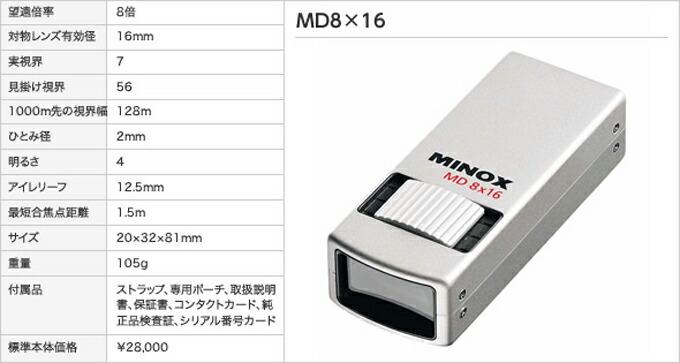 ミノックスMD8×16
