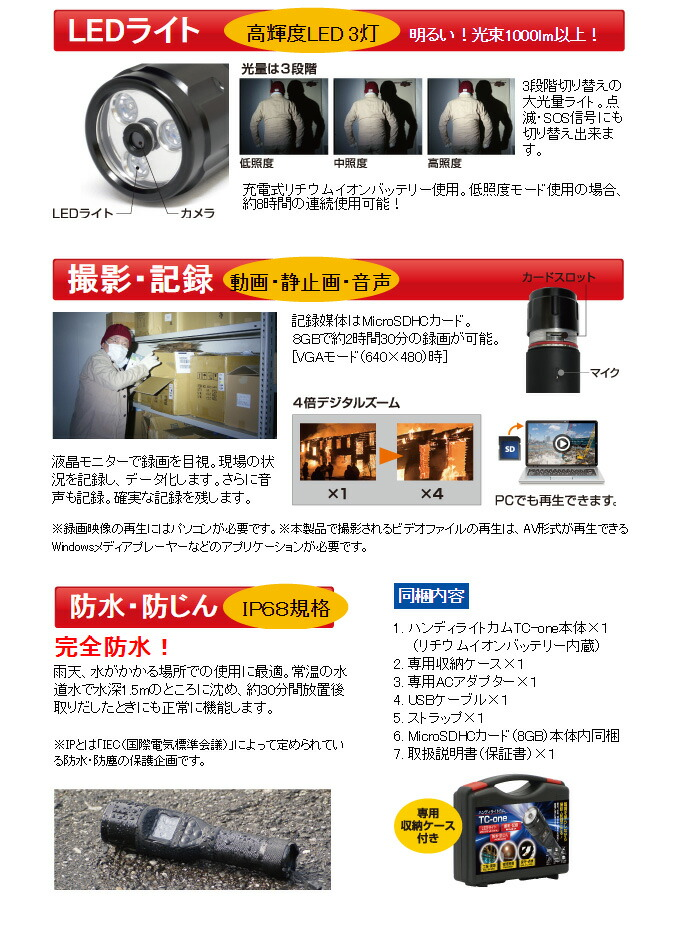 懐中電灯方カメラT-ONE