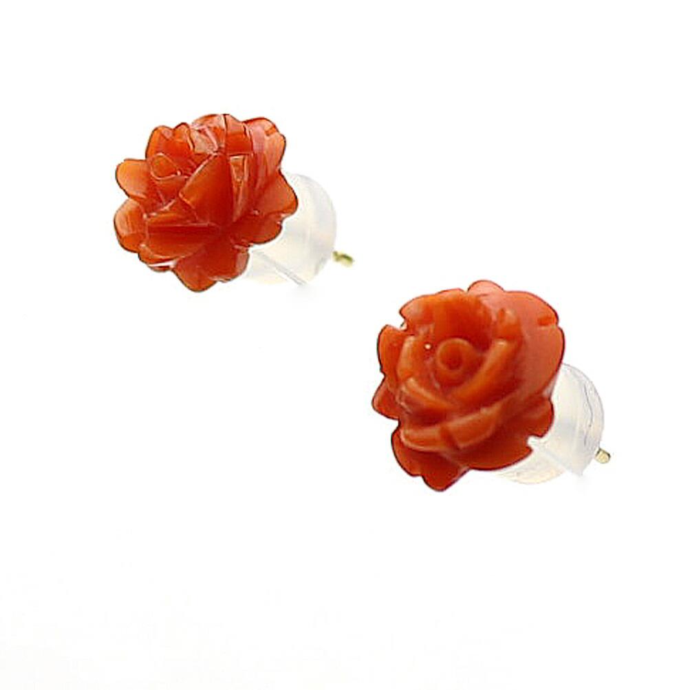血赤珊瑚 薔薇 K18ピアス