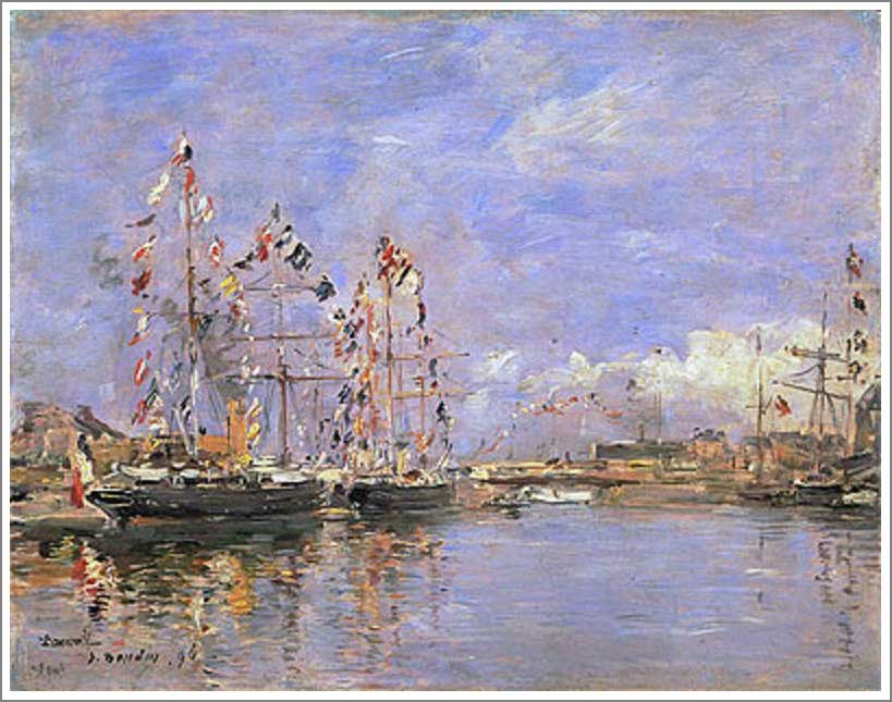 絵画(油絵複製画)制作 ウジェーヌ・ブータン「ドービル、旗で飾られた港の船」