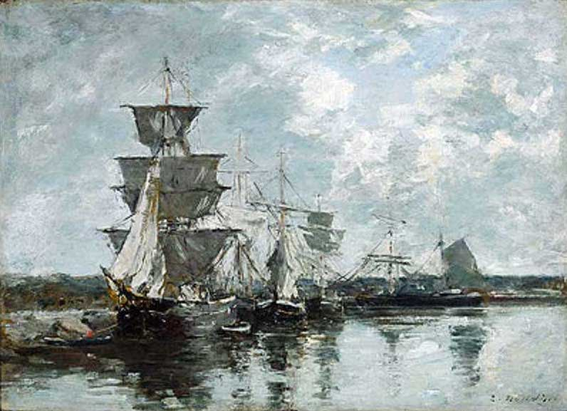 絵画(油絵複製画)制作 ウジェーヌ・ブータン「港の景色」