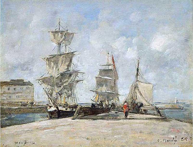 絵画(油絵複製画)制作 ウジェーヌ・ブータン「オンフルールの港」