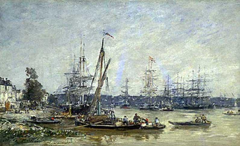 絵画(油絵複製画)制作 ウジェーヌ・ブータン「ボルドーの港」
