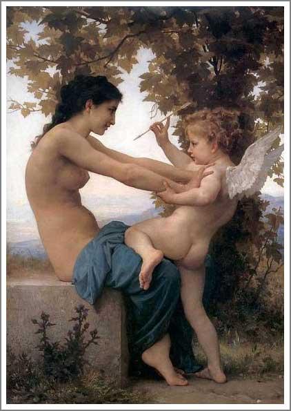 絵画(油絵複製画)制作 ウィリアム・ブグロー「エロスの誘惑に抗する娘」